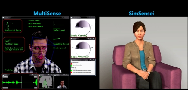 MultiSense tracks the subject's facial expression, head and eye movements, body language as well as the tonal quality of their voice and what they are saying. Here, the subject' discomfort in talking about something results in gaze aversion, a downward look, fracture comments, all noted by MultiSense (and marked in red), which then helps drive the SimSensei virtual human's reactions and verbal response (shown in the crentral information box outlined in blue)