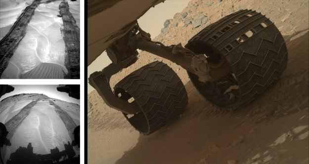 "In the raw: three unprocessed images returned by Curiosity from Mars on August 3rd (Sol 708) and August 4th (Sol 709) 2014, PDT. top left: the tracks left by the rover as it enters ""Hidden Valley"", as seen from the forward Hazard Avoidance cameras (as the rover is again travelling backwards). Lower left: a similar view, but captured by the mast-mounted left Navigation camera. Right: an image captured by the Mars Hand Lens Imager (MAHLI) of two of the rover's wheels. Note the rips and tears in the rightmost wheel in the image, danage caused during Curiosity's journey over some exceptionally rough terrain during the year"