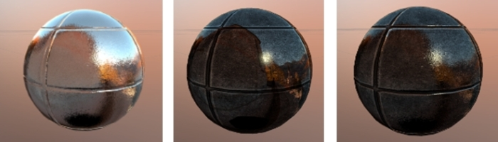 How mirror reflections might benefit when working with materials: (L): A mirror sphere with a normal map applied; (c) a mirror sphere Mirror reflections and an environment mask applied; materials