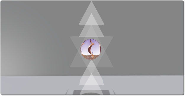 Android Ascension by Sheba Blitz is an abstract piece of pyramidal sections within which sits a rotating sphere displaying images of figures climbing an endless spiral stair