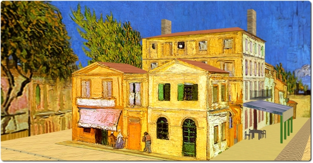 Dusty Canning presents The Yeellow House, which converts van Gogh's famous painting of the house he rented in Aries, France, back into a 3D model visitors can walk around