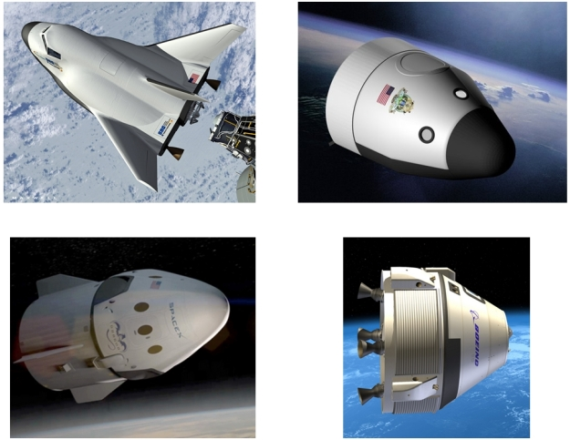 The four contenders for the ISS crew support contract (clockwork from top left): Sierra Nevada's DreamChaser; Blue Origin's Space Vehicle; Boeing's CST-100 and Spacex's Dragon V2 (images courtesy of Sierra Nevada, Blue Origin, Boeing and SpaceX)