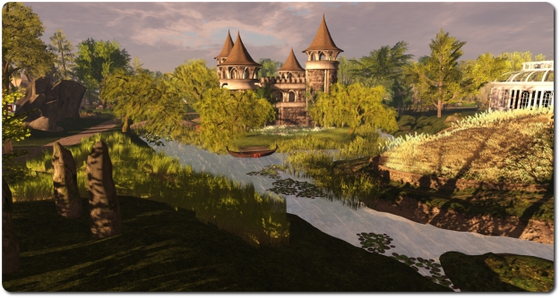 The Prim Perfect Castle, and grounds, designed by Aisling Sinclair using elements from a numebr of SL designers, provides a magnificent venue for the magazine's talks and presentations