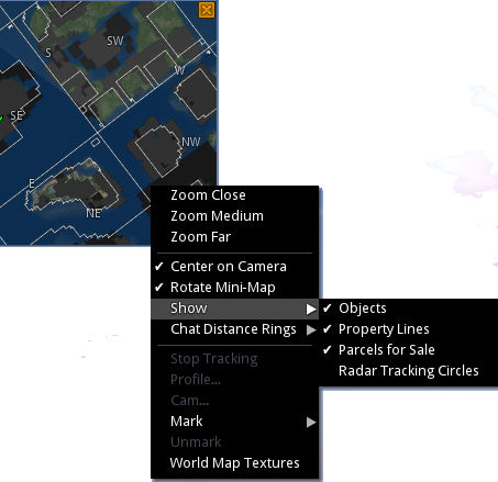 The Mini-map parcel options and other menu options