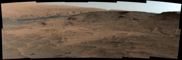 A mosaic of images captured by Curiosity's Mastcam showing the Pahrump Hills area the rover is currently investigating (foreground) and the Murrary formation, a near-term destination, beyond