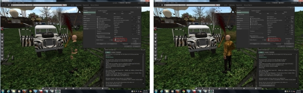 The latest AMD Catalyst™ 14.9.2 Beta driver issue: with Hardware skinning enabled, rigged messhes will not render (l); disable it, and they'll render OK (r) - click for full size; image courtesy of Maestro Linden