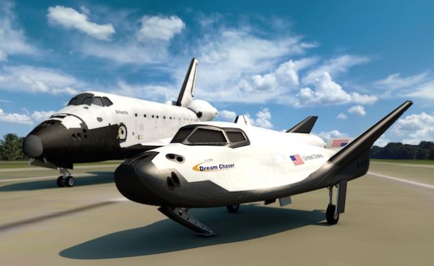 The Dream chaser alongside NASA's space shuttle Atlantis