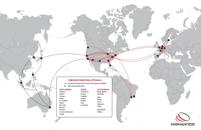 Highwinds data centres - click for full size, or see additional information on the centres and Highwinds PoPs here (image courtesy of Highwinds)