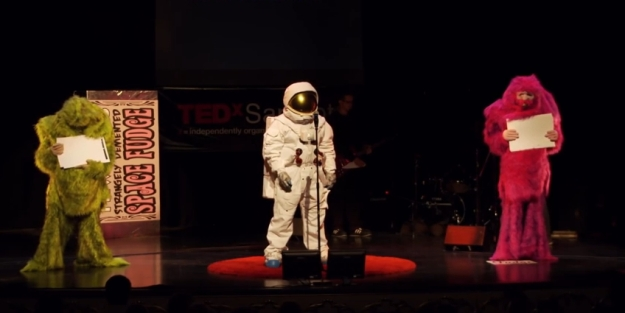 """Rony Abovitz (in the space suit) and friends appearing at TEDx Sarasota event in December 2012 - still generating a """"Wut?"""" response in many people today"""