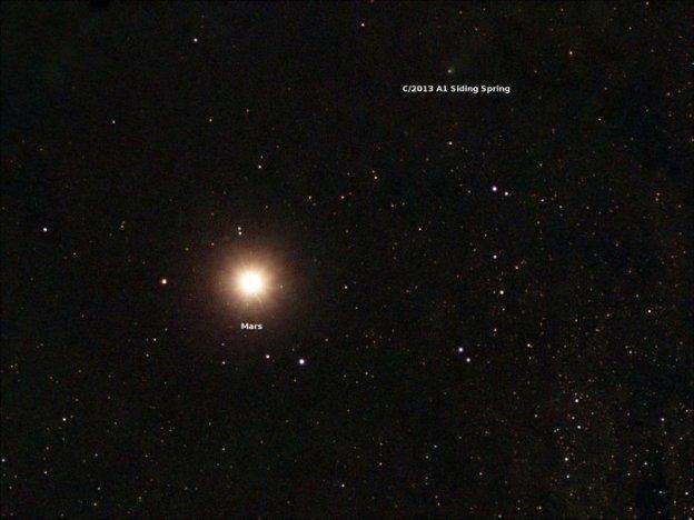 Siding Spring passing Mars, October 19th, 2014 (image: Scott Ferguson, Florida, USA)