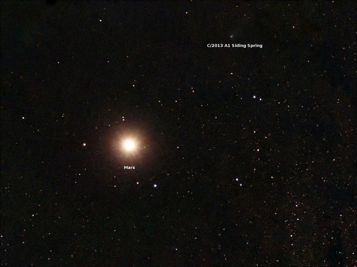 Siding Spring passing Mars, October 19th, 2014 (image: Scott Ferguson, Florida, USA)