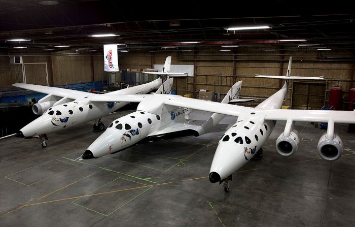 SpaceShipTwo suspended under the wing of White Knight Two in February 2012, ready for unpowered subsonic test flights (image courtesy of Msrk Greenberg, Virgin Galactic
