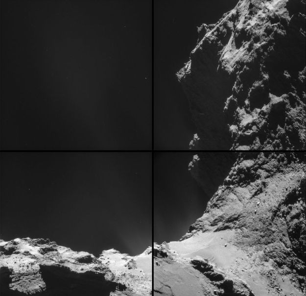 A mosaic of four images captured by Rosetta showing 67P/C-G in detail. The white smudging against the backdrop of space is the gas and dust of the comet#s coma as it catches and reflects sunlight