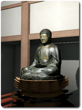 The statue of Buddha in the Amida Hall