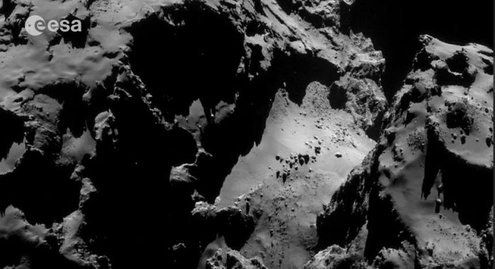 Brave new world: the surface of comet 67P/C-G, upon which the European space Agency successfully landed a the robot vehicle Philae on Wednesday, November 12th, 2014 as a part of the Rosetta mission
