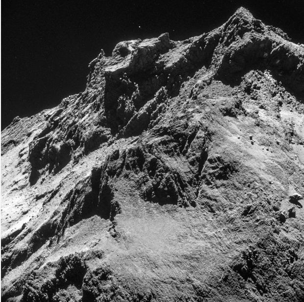 Philae's first look at 67P/C-G, taken from an altitude of 10km above the comet, just after separation from Rosetta
