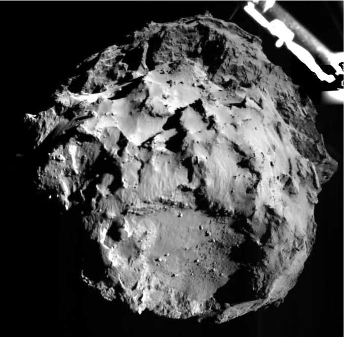 Getting closer: 3 kilometres from the surface - an image from Philae's descent and landing camera as it slowly drops towards comet 67P/C-G