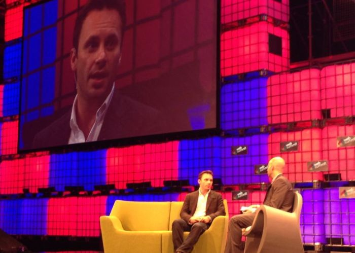 Oculus Rift CEO Brendan Iribe (left), speaking at the 2014 Web Summit in Dublin, Ireland, November 4th