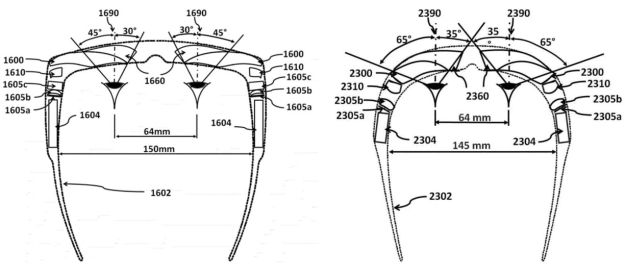 "Patent filed for Magic Leap by , draws extensively on one of earlier patents for augmented reality headsets styled in both ""regular glasses"" and ""wrap-around"" form factors (US 20120162549 A1)"