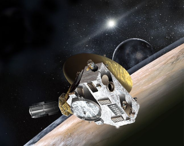 An artist's impression of New Horizon passing Pluto, with Charon and the Sun behind.