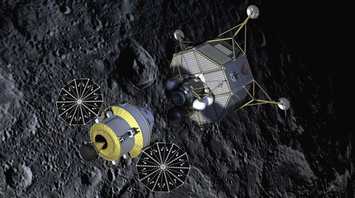 An artist's conception of Orion delivering a large lunar lander to the Moon