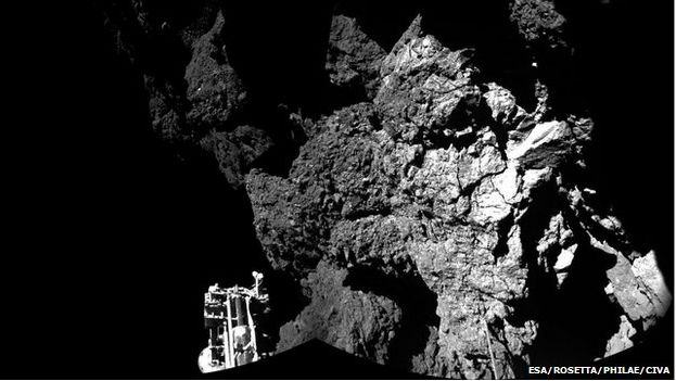 The first image from the surface of a comet, returned to Earth by the Rosetta lander Philae, November 13th, 2014. image: ESA/Rosetta/Philae/CIVA