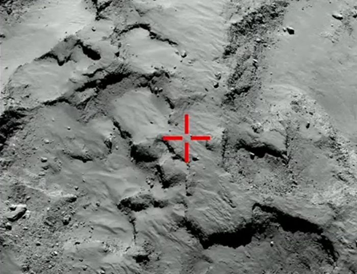 Where Philae should have landed. May now be in the depression, lower right