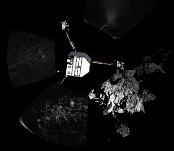 In this image released by ESA, a model of the Philae lander has been superimposed on images of the vehicle's shadowy surroundings as captured by the panoramic cameras mounted around the lander (image: Image: Sipa USA/Rex)