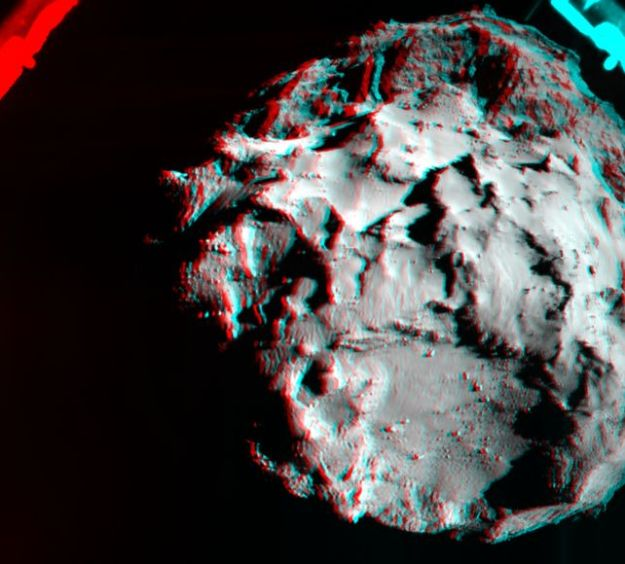 A 3D image of the comet created by overlapping two images captured by Philae's ROLIS camera as it descends toward the surface