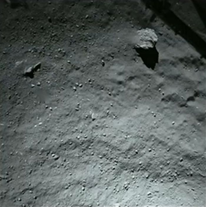This image is from Philae's ROLIS camera and shows the intended landing area when the vehicle was around 40 metres (130 feet) overhead