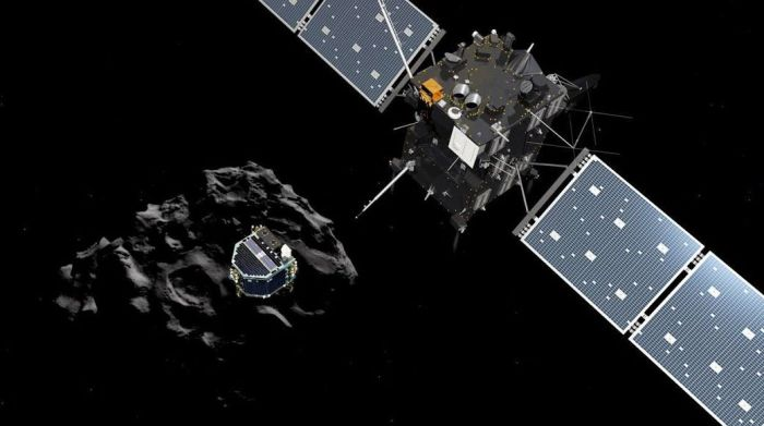 Rosetta (r),Philae and, behind them, comet 67P/Churyumov–Gerasimenko seen in an artist's impression of the mission