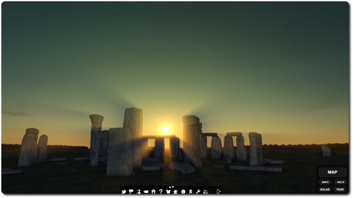 Stonehenge in Blue Mars during the 2014 summer soltice. The model can also be viewed from the persepective of 2700 BC and in a range of lighting conditions