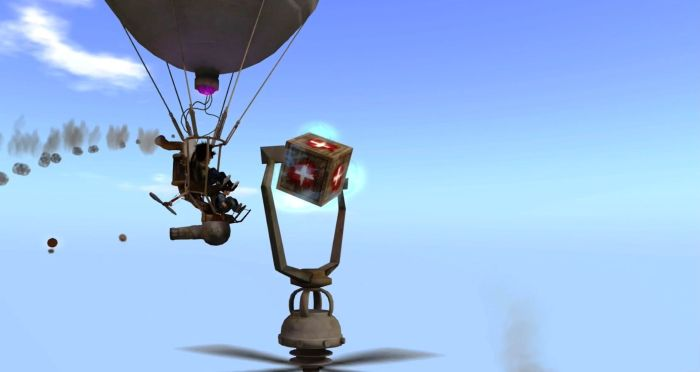 Fly through the repair crates to recover from damage your balloon has sustained