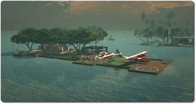 Still enjoying SL: my island home with my toys: Catalina, MD-900, E-Tech cruiser and Loonetta-31