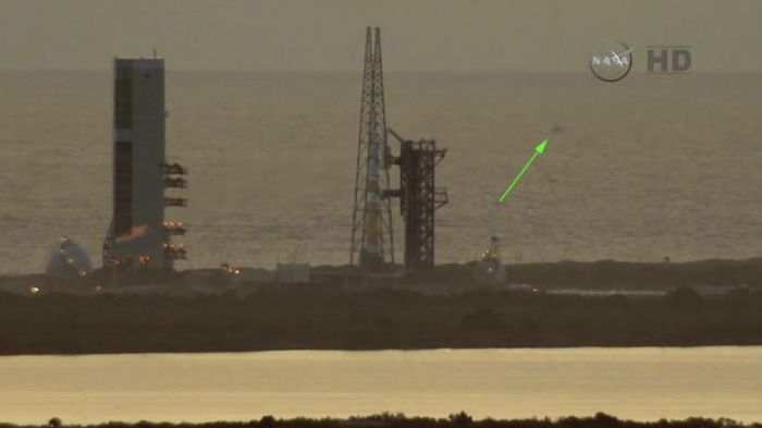 The boat (arrowed) that initially held the Thursday, December 4th launch, as it sits within the safety exclusion zone