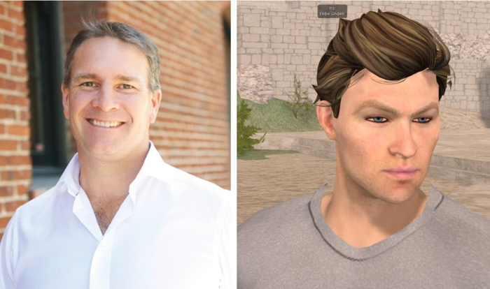 New man at the top, Ebbe Altberg (l), who quickly sets about reversing the Lab's policy on communications, opening things out and taking time to attend events such as the Virtual Worlds Best Practice in Education, where he appear via his alt-ego Ebbe Linden (r - image by Strawberry Singh)