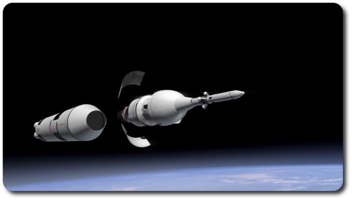 """The moment of separation: Orion, shrouded by the Launch Abort System, and attached to the """"dummy"""" Service Module / Delta upper stage combination at just after separation from the main stage of the Delta rocket. The two panels seen either side of Orion are the panel that protect the Service Module during ascent to orbit"""