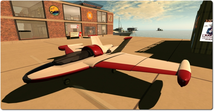 The Cubey Terra Stingray was one of my first real forays into flying in SL - a great aircraft (which also doubles as a speed boat and submarine!)