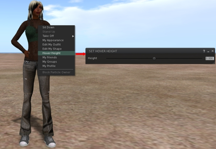 Now in the release viewer: Avatar Hover Height provides a means of adjusting your avatar's graphical height above the ground / floor / objects, as seen by yourself and others