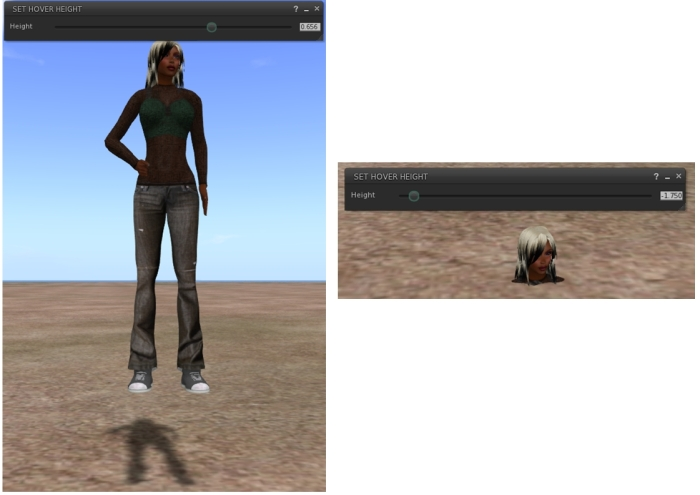 "Playing with avatar hover height in February 2015 (and the reason I call my alt my ""Crash Test Alt"" - she suffer a lot!), the long-awaited Lab replacement for the much missed z-offset height adjustment"