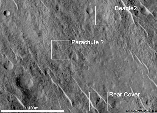 A HiRise image showing elements of the Beagle 2 lander on the surface of Mars (NASA JPL)