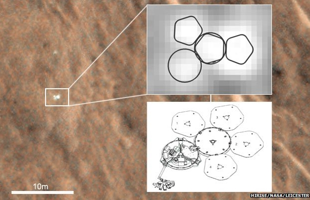 """A close-up image of Beagle 2 on Mars, and a sketch showing its apparent configuration with only two of the solar panel """"petals"""" deployed,  and an image of how it should appear with all of the panels deployed"""
