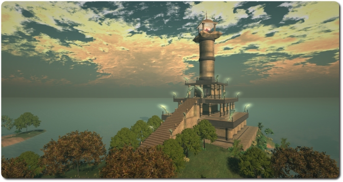 The great beacon tower of Pharos, on the east coast of Nautilus. built by Garden Mole, it is one of several builds within Nautilus designed to add to the mythology of the continent and its discovery by Magellan Linden