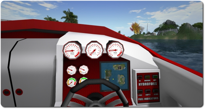 The dashboard contains working dials and a nice map function that will mark your position within a region (the yellow square) - providing you're not zipping along at an insane speed!