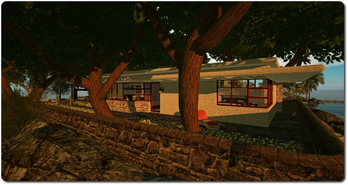 """The """"new"""" house - a re-styling of the guest house from my Fallingwater inspired build of a few years ago"""