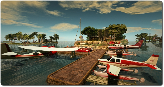 "Looking from the north end of the island and my little ""marina / airport"" :)"