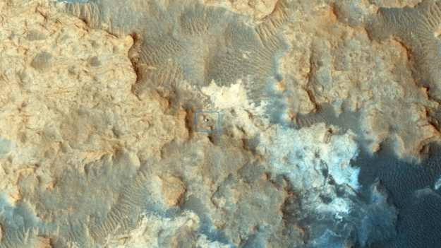 """I see you!"" - MRO's HiRise image of the curiosity rover, obtained on December 13th, 2014, as the rover explores the ""Pahrump Hills"" region on a basal slopes of ""Mount Sharp"""