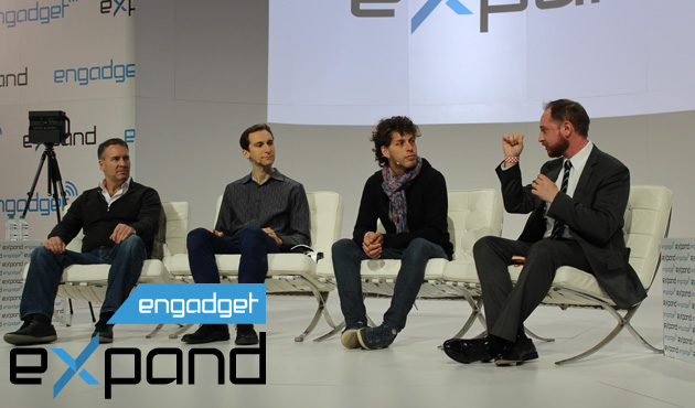 The Engadget Expand NY panel for Back to Reality: VR Beyond Gaming. For left to right: Ebbe Altberg, Matt Bell, Marte Roel and host Ben Gilbert