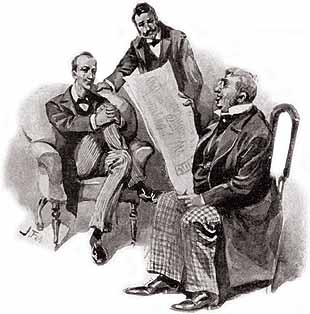 Jabez Wilson tells his story to a bemused Holmes and Watson, Sidney Paget, 1891