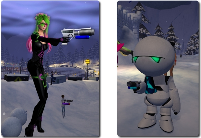 Lindens in action: Torley Linden takes airborne aim; and a (possibly paranoid?) android from the Governance Team